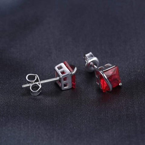 Image of Square Created Ruby Earrings 925 Sterling Silver-JP_EARRINGS-JEFAMO