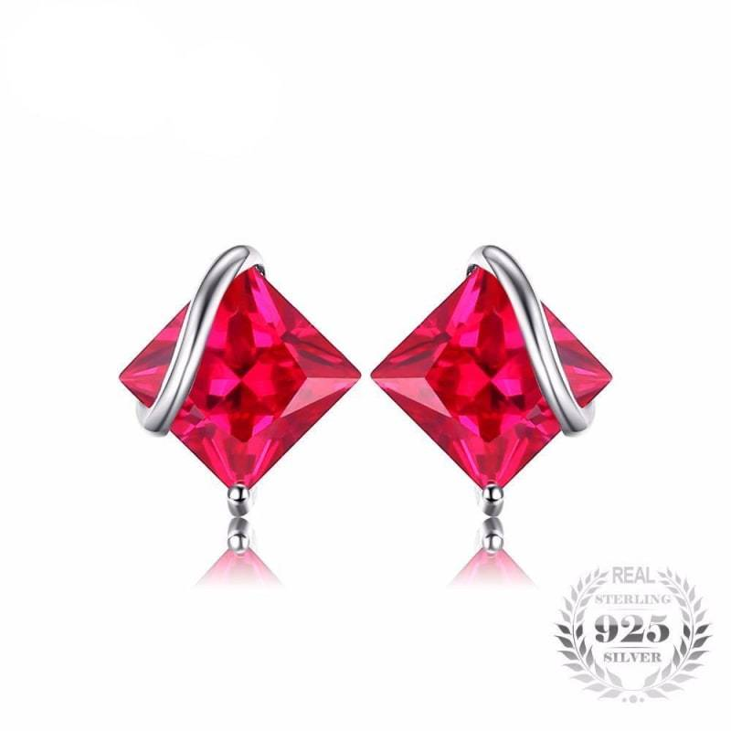 Square Created Ruby Earrings 925 Sterling Silver-JP_EARRINGS-JEFAMO