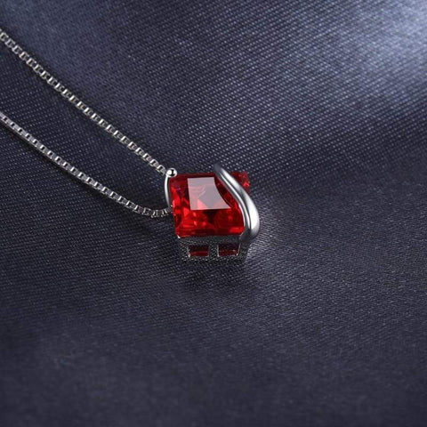 Image of Square Created Ruby Pendant 925 Sterling Silver-JP_PENDANTS-JEFAMO