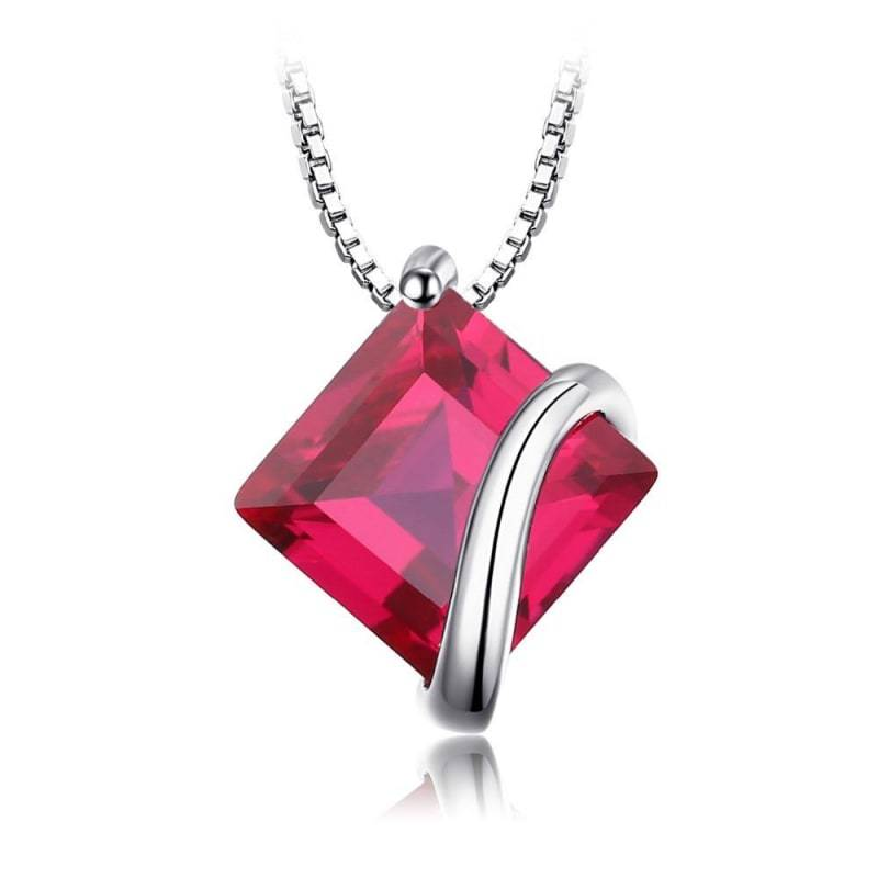 Square Created Ruby Pendant 925 Sterling Silver-JP_PENDANTS-JEFAMO