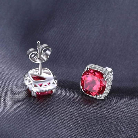 Image of Square Pigeon Blood Red Ruby Stud Earrings 925 Sterling Silver-JP_EARRINGS-JEFAMO