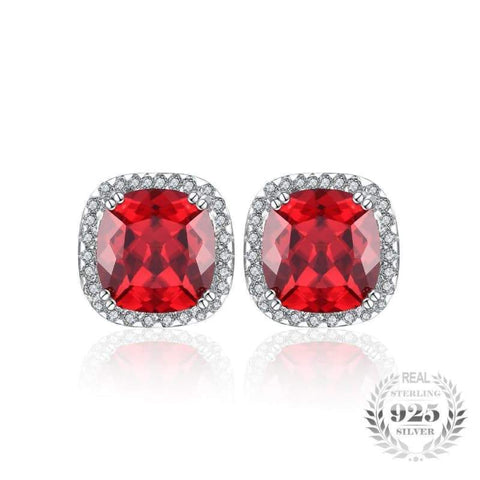 Square Pigeon Blood Red Ruby Stud Earrings 925 Sterling Silver-JP_EARRINGS-JEFAMO
