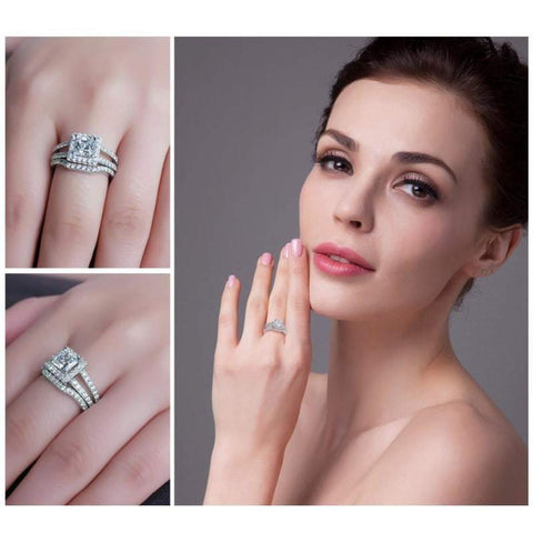 Image of Square Shaped Cubic Zirconia Ring Set 925 Sterling Silver-JP_RINGS-JEFAMO