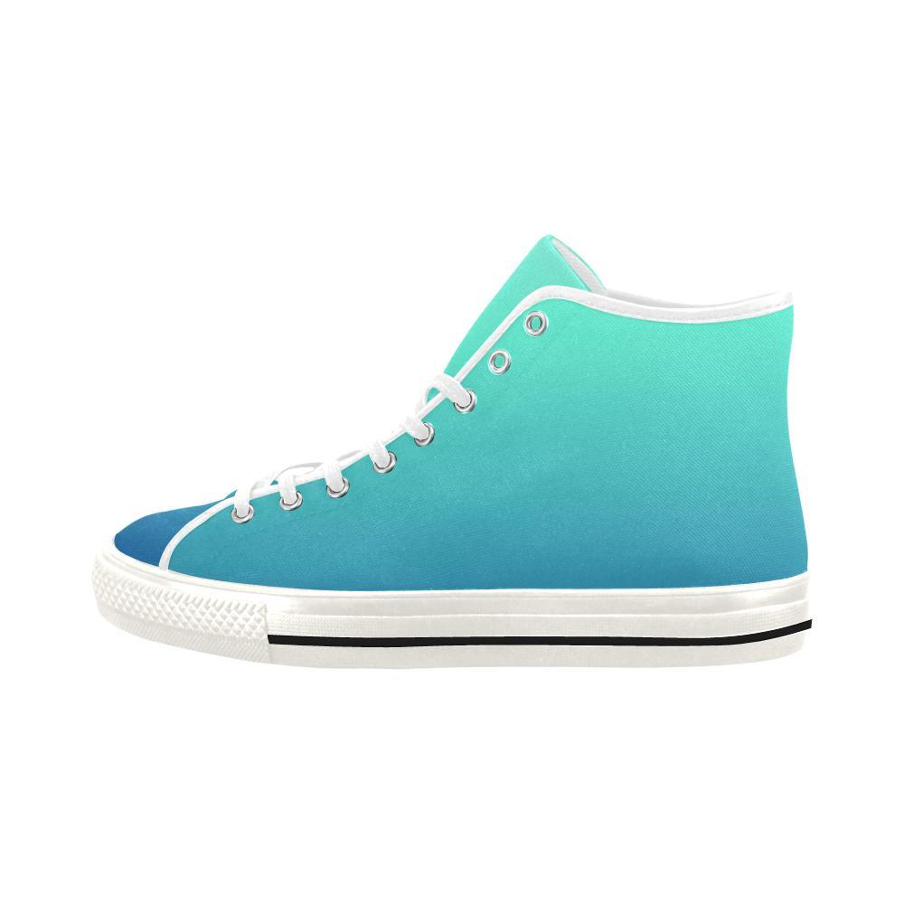 Teal Design 1 Vancouver High Top Canvas Women's Shoes-Canvas Shoes-JEFAMO