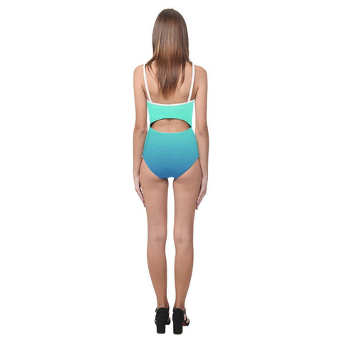 Image of Teal Design 1 Women's Slip One Piece Swimsuit-Swimwear-JEFAMO