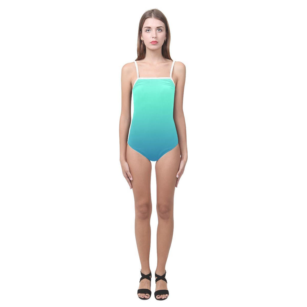 Teal Design 1 Women's Slip One Piece Swimsuit-Swimwear-JEFAMO