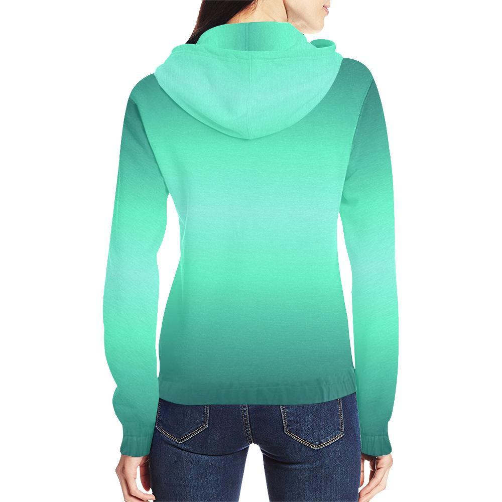 Teal Design 2 Women's All Over Print Full Zip Hoodie-Hoodies-JEFAMO