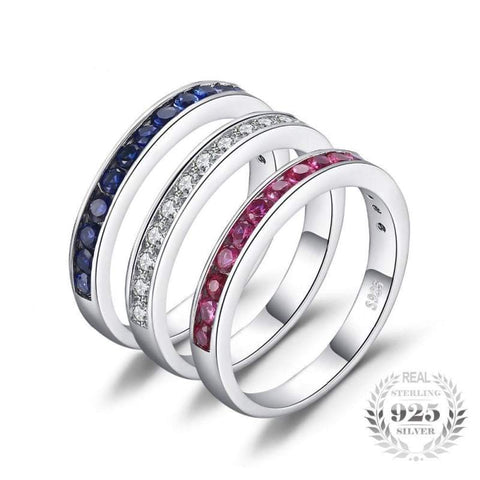 Three Stacked Round Ruby, Sapphire, Cubic Zirconia Band Eternity Ring Set 925 Sterling Silver-JP_RINGS-JEFAMO