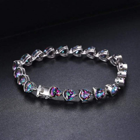 Triangle Shaped Genuine Rainbow Fire Mystic Topaz Bracelet 925 Sterling Silver-JP_BRACELETS-JEFAMO