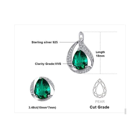 Image of Water Drop Created Emerald Clip Earrings 925 Sterling Silver-JP_EARRINGS-JEFAMO