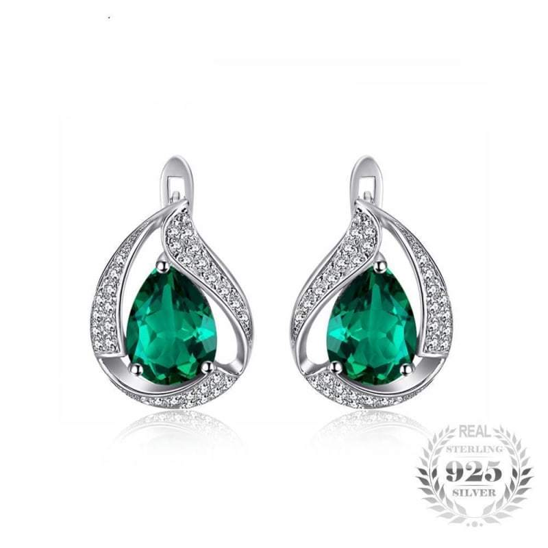 Water Drop Created Emerald Clip Earrings 925 Sterling Silver-JP_EARRINGS-JEFAMO