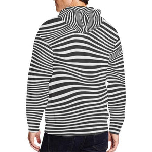 Zebra Pattern Men's All Over Print Full Zip Hoodie (Model H14)