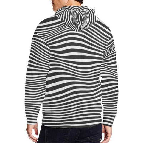 Image of Zebra Pattern Men's All Over Print Full Zip Hoodie (Model H14)-All-over Hoodies-JEFAMO