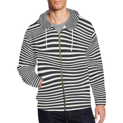 Zebra Pattern Men's All Over Print Full Zip Hoodie (Model H14)-All-over Hoodies-JEFAMO