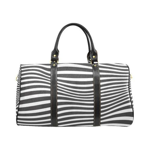 Zebra Pattern Travel Bag Black (Small) (Model1639)-Travel Bags-JEFAMO