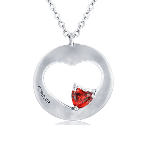 Silver Circle Heart Birthstone Engraved Necklace