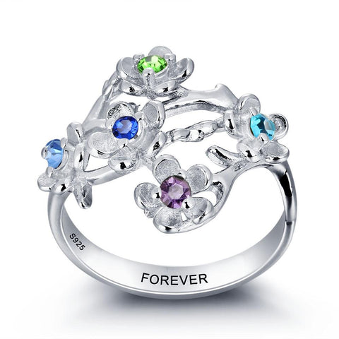 Sterling Silver 5 Flower Personalised Engraved Ring