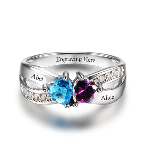 Sterling Silver Engraved Double Birthstone Heart Ring