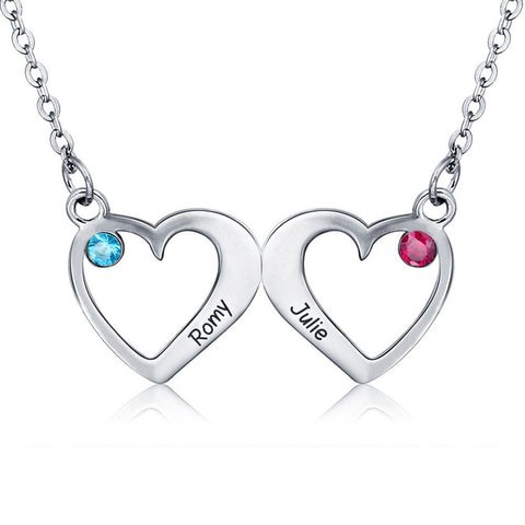 Sterling Silver Double Heart Birthstone Necklace