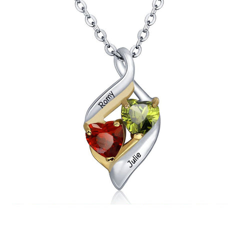 Sterling Silver Engraved Birthstone Twisted Hearts Necklace