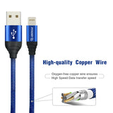 Canvas Cable 6.6ft For iPhone In Blue