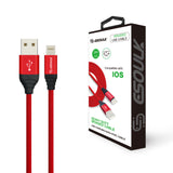 Canvas Cable 6.6ft For iPhone In Red