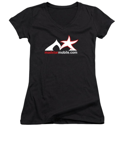 Pixels Women's V-Neck (Athletic Fit) Black / Small Madstar Women's V-Neck (Athletic Fit) White Logo