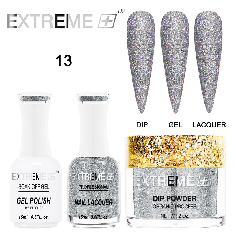 EXTREME+ Trio - Gel, Lacquer, & Dip Combo - HOLO CHROME -