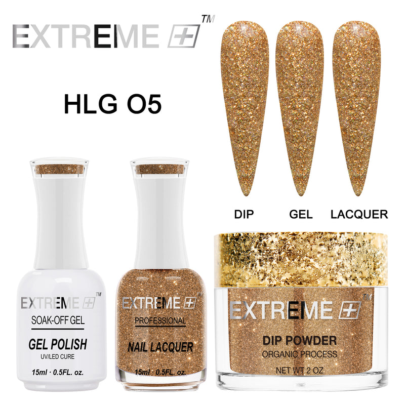 Extreme + Trio - Gel, Lacquer, & Dip Combo - HOLO CHROME -