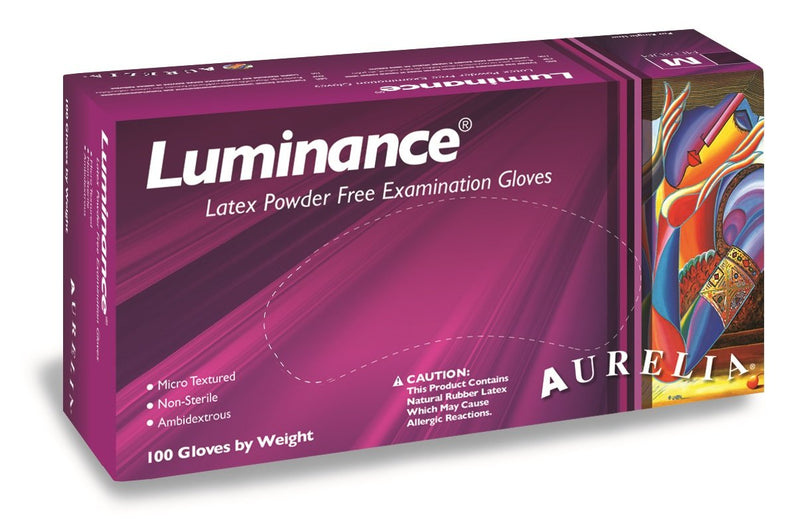 "Aurelia Luminance Latex Gloves, Powder Free, 9.4"" Length, 7 mils Thick"