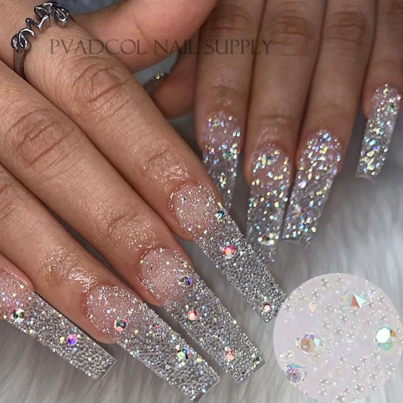 Glitter Pixie Nails Crystal Micro Beads Multicolor AB 3D Nail Art Rhinestone Decorations Manicure Accessories|Rhinestones & Decorations