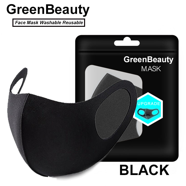 (2 Pcs / Pack ) Cloth Face Mask Washable Reusable - Black