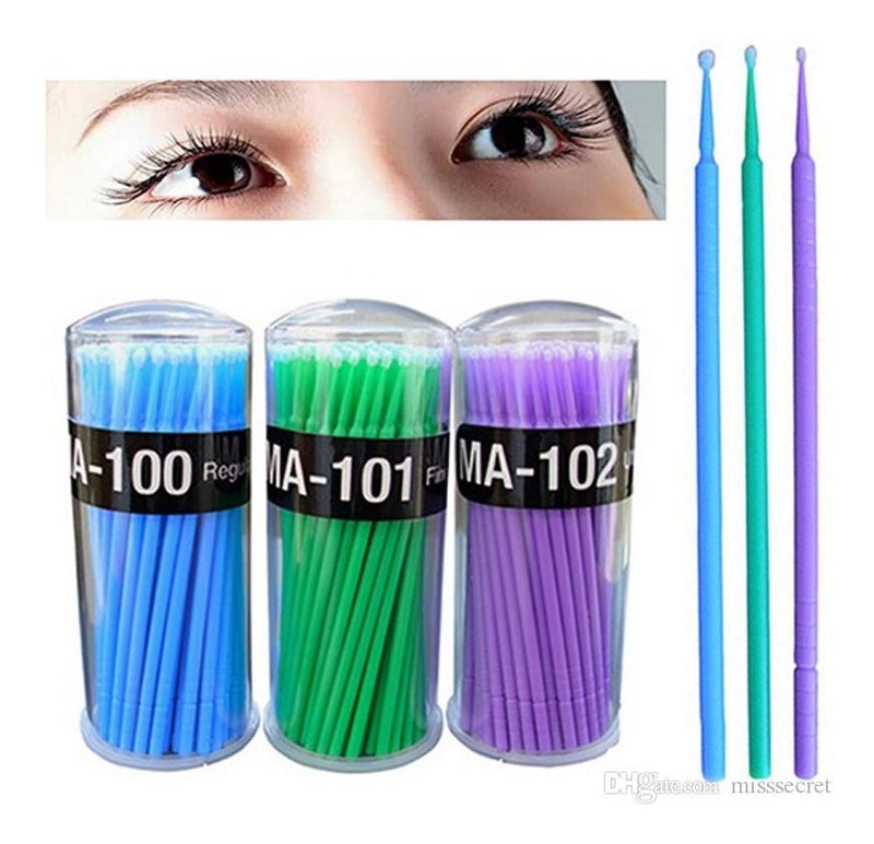 100 Pieces Micro Applicator Brushes Lash Micro Swabs for Eyelash Extensions, Makeup