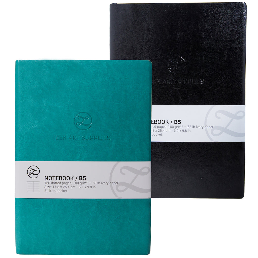 "Artists Leather Bound Bullet Journal Notebook B5 (7"" x 10"") In Black Or Turquoise"