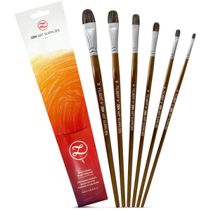 Filbert Brush Set | 6 Paint Brushes in PVC Travel Pouch, ideal for Oil & Acrylics