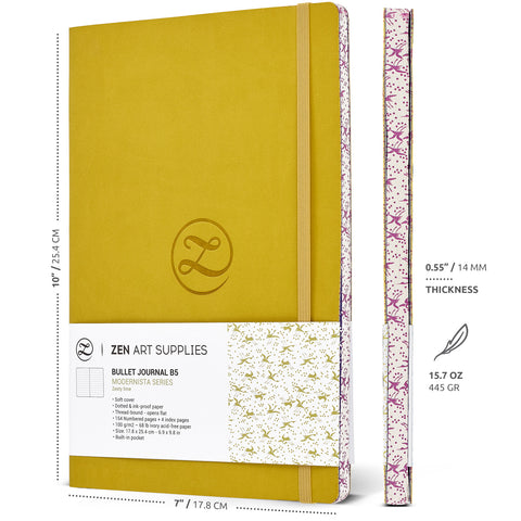 ZenART Faux Leather-Bound Dotted Journal – B5 Sized (Zesty Lime)