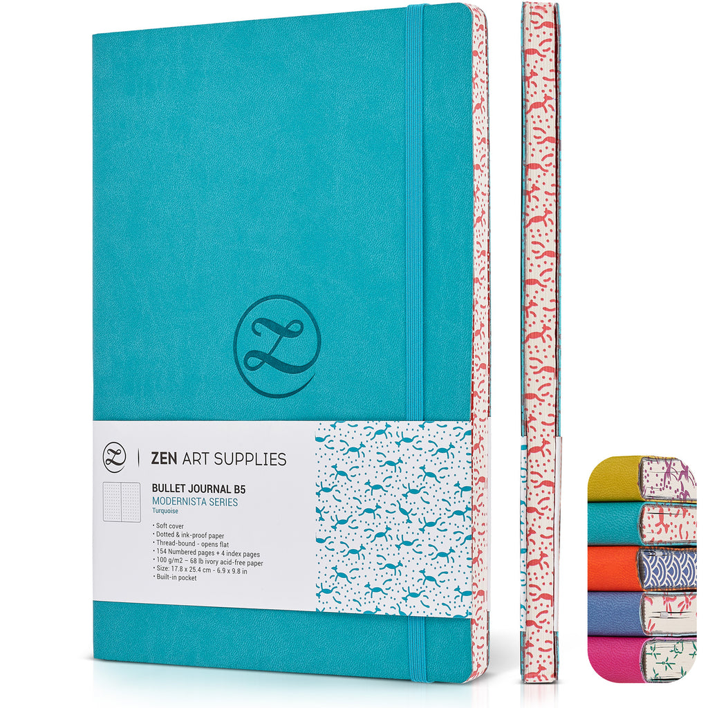 ZenART Faux Leather-Bound Dotted Journal – B5 Sized (Turquoise)