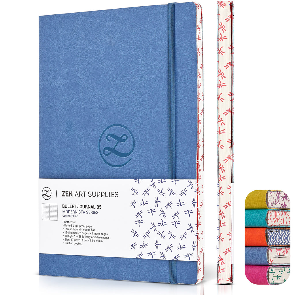 ZenART Faux Leather-Bound Dotted Journal – B5 Sized (Lavender Blue)
