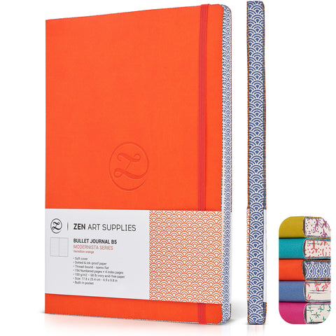 ZenART Faux Leather-Bound Dotted Journal – B5 Sized (Vermilion Orange)