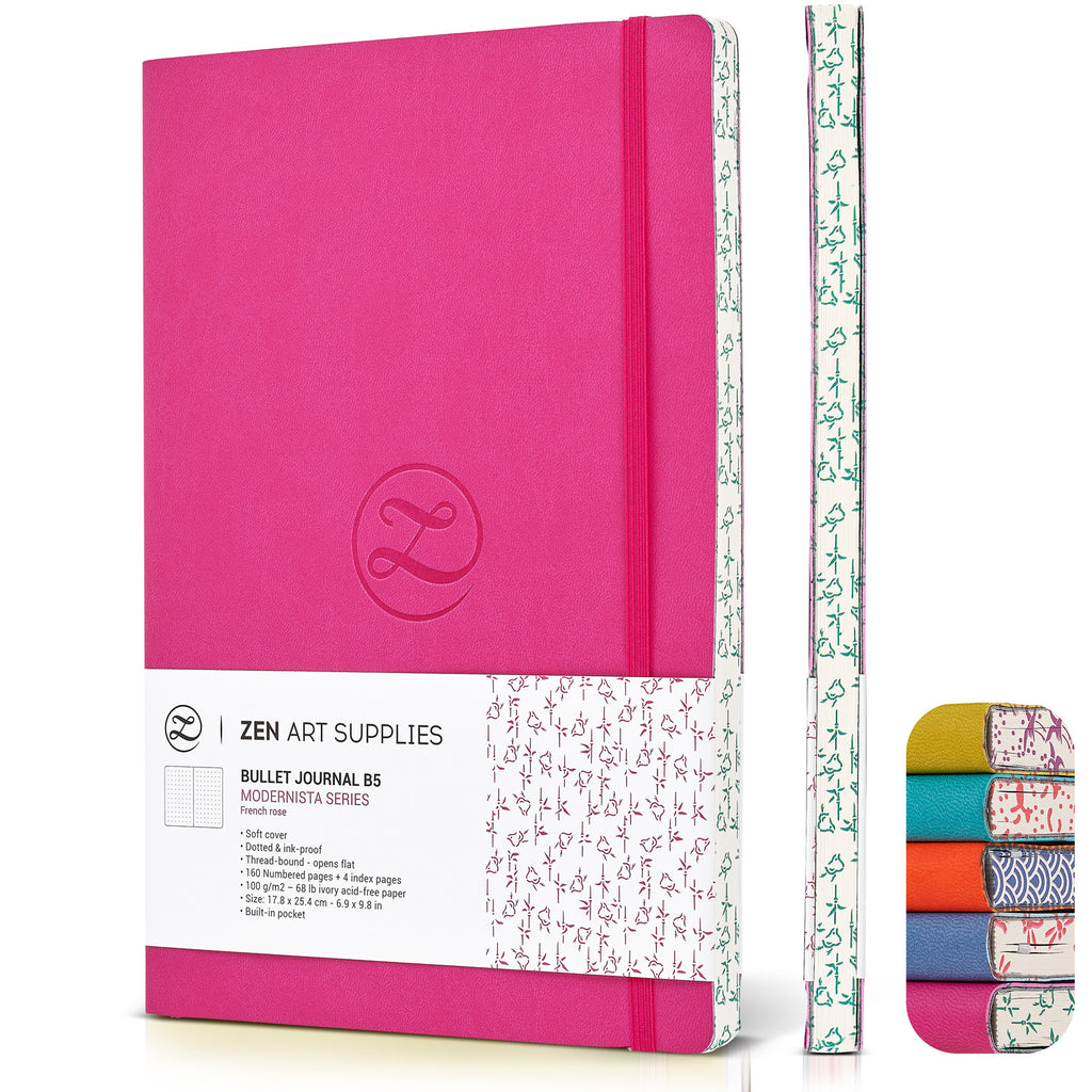 ZenART Faux Leather-Bound Dotted Journal – B5 Sized (French Rose)