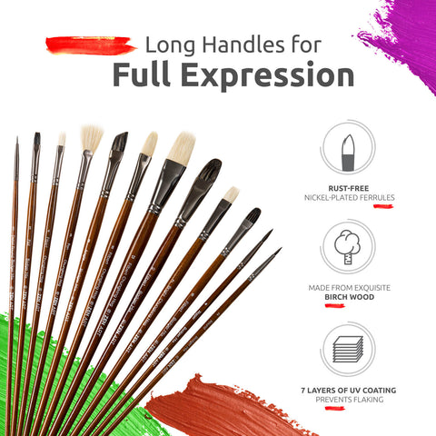 RENOIR COLLECTION: Professional Oil & Acrylics Brushes 14 Piece Brush Set