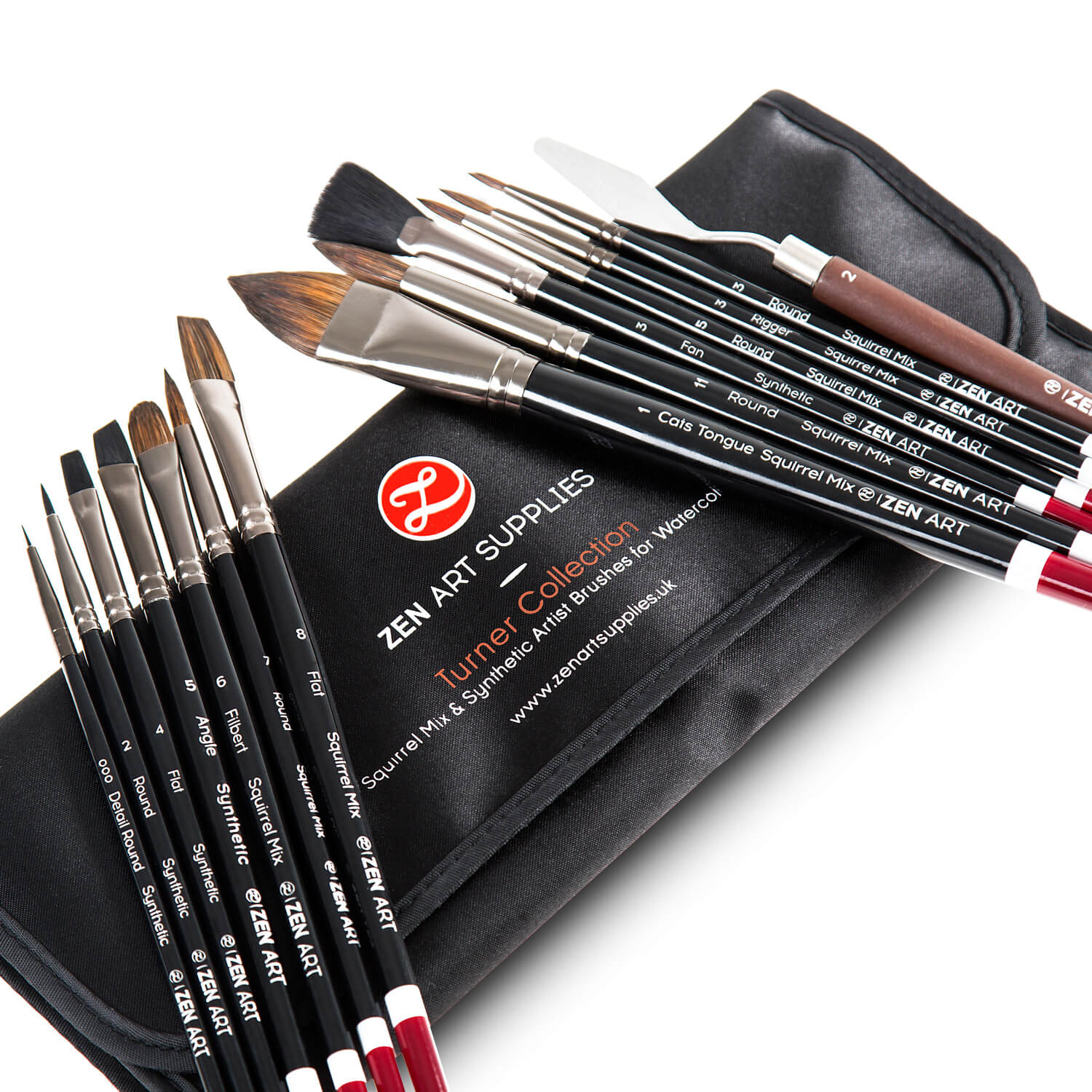 Complete Watercolor Brush Set | 14 pcs | Squirrel & Synthetic Blend | Satin Travel Pouch