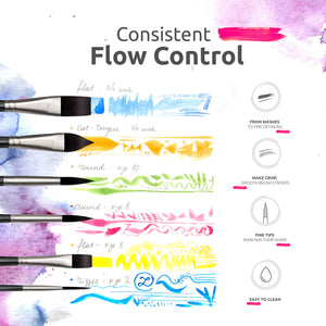 Short-Handle Watercolor Brush Set | 6 pcs | Synthetic Squirrel Hair | Vegan