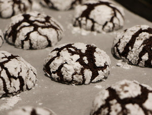 Unique and perfect holiday gift, Spiced Chocolate Crinkle Cookies, Pre-measured high quality ingredients deliver to your door for this Christmas!