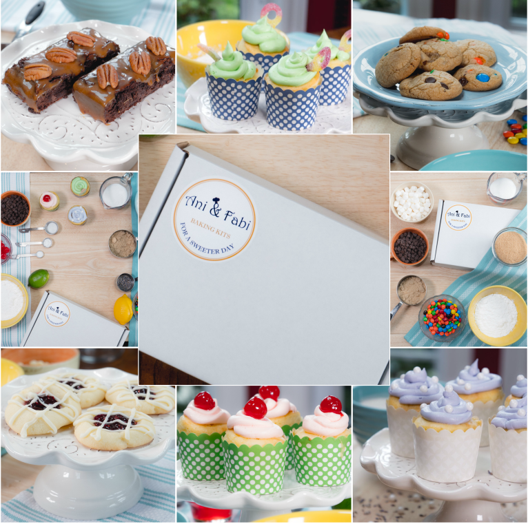 Ani & Fabi monthly subscription, 2 baking kits with newest recipes, free delivery to your door, Kits include easy to follow recipe, all dry ingredients pre-measured, all necessary tools included