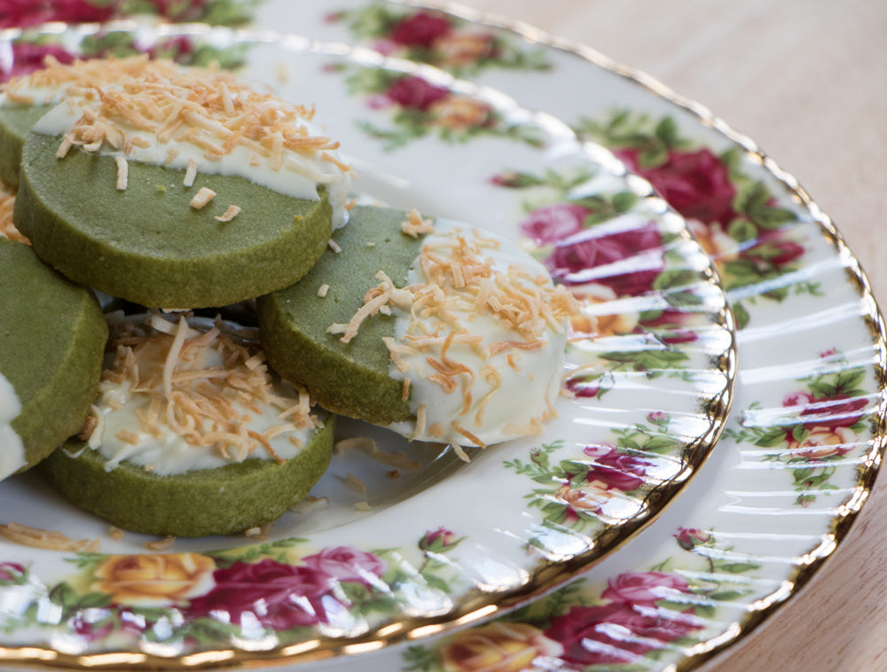 White Chocolate Matcha Cookies with Toasted Coconut - Ani & Fabi: Canada's first gourmet baking kits