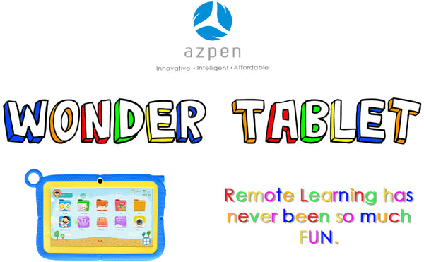 Wonder tablet front view with colorful text
