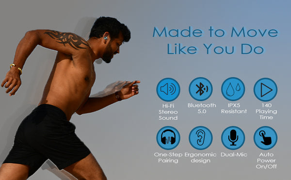 Man Running with NVEE earbuds in