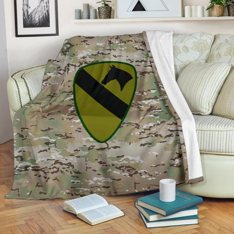 Image of fleece blanket 1st Cavalry Division Camo Fleece Throw Blanket