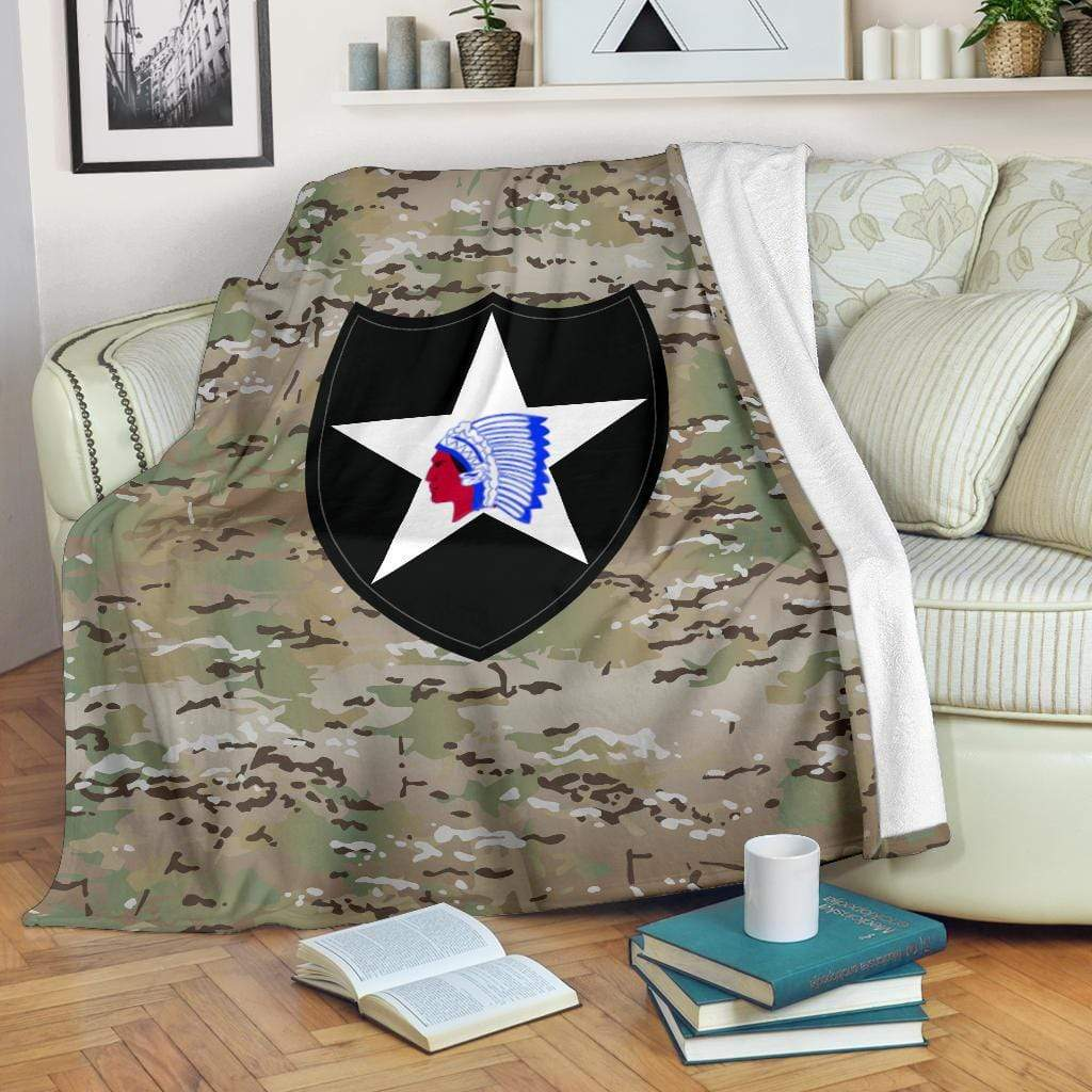 fleece blanket 2nd Infantry Division Camo Fleece Throw Blanket